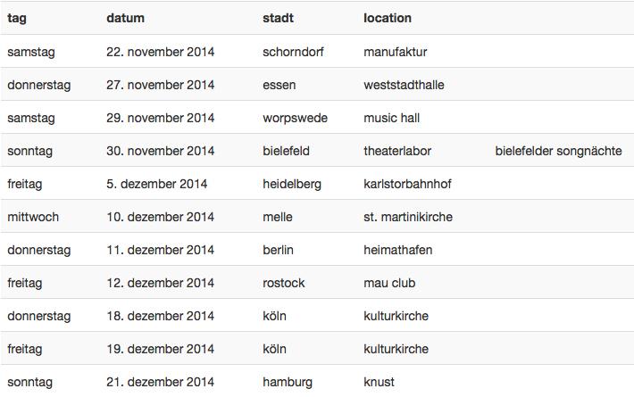 Erdmöbel Tourplan 2014